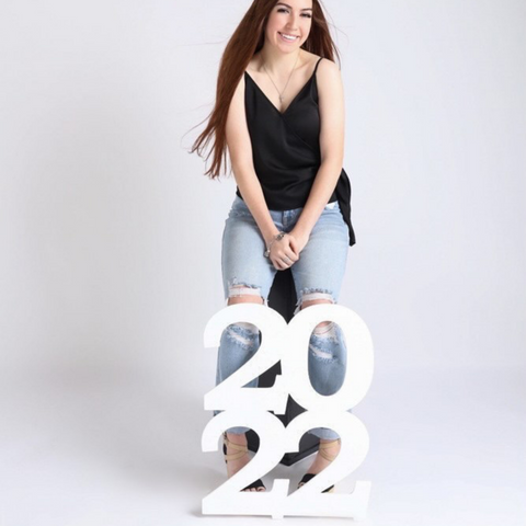 Senior Portrait with stacked 2022 photo prop