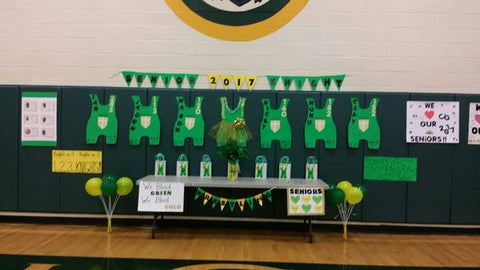 Wrestling Senior Night Decor Ideas: Singlet on Wall and Display Table, curated by CollageandWood.com