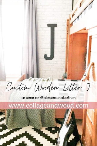 Custom Wooden Letter J, Boys Bedroom Decor, From Collage and Wood