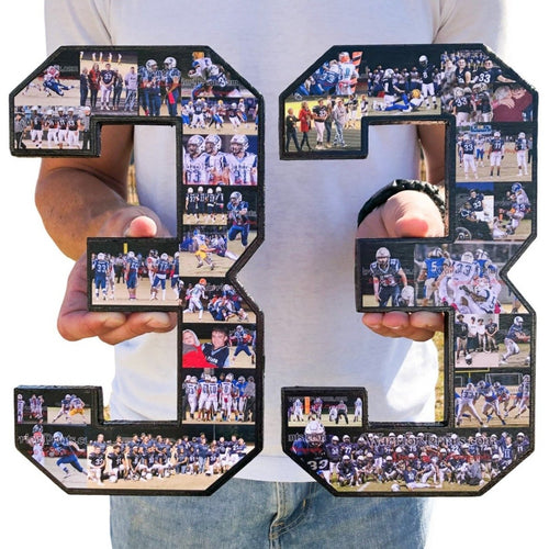 12 Custom Sports Number or Letter Photo Collage for Senior Night - collageandwood