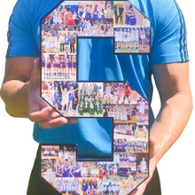 Load image into Gallery viewer, 15 Inch Custom Sports Number or Letter Photo Collage for Senior Night - collageandwood