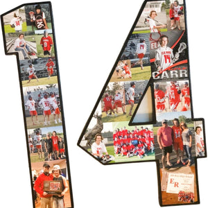 15 Inch Custom Sports Number or Letter Photo Collage for Senior Night - collageandwood