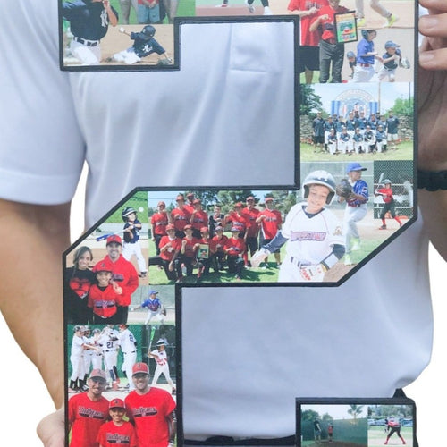18 Inch Custom Sports Number or Letter Photo Collage for Senior Night - collageandwood