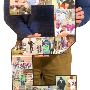24 Inch Custom Sports Number or Letter Photo Collage for Senior Night - collageandwood