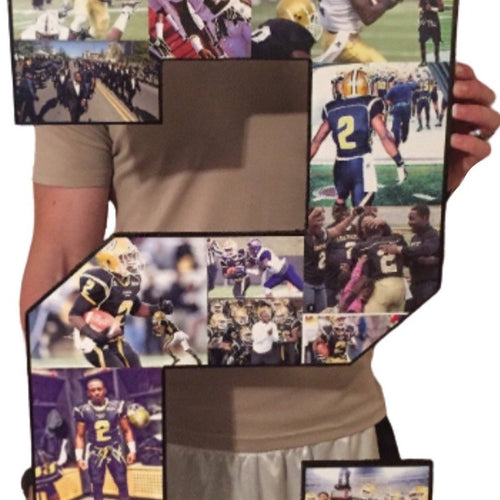 30 Inch Custom Sports Number or Letter Photo Collage for Senior Night - collageandwood