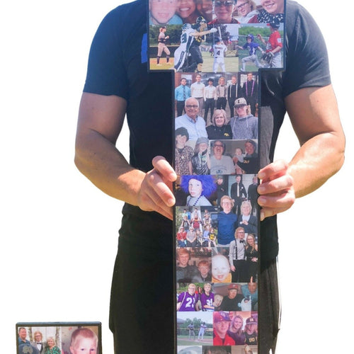 36 Inch Custom Sports Number or Letter Photo Collage for Senior Night - collageandwood