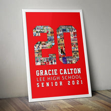 Load image into Gallery viewer, Custom Senior Nights Sports Poster | Sports Number or Letter Photo Collage for Senior Night - collageandwood