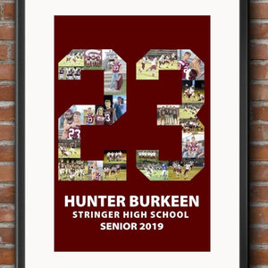 Custom Senior Nights Sports Poster | Sports Number or Letter Photo Collage for Senior Night - collageandwood