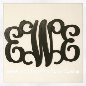 Personalized Wooden Vine Monogram Letters - collageandwood