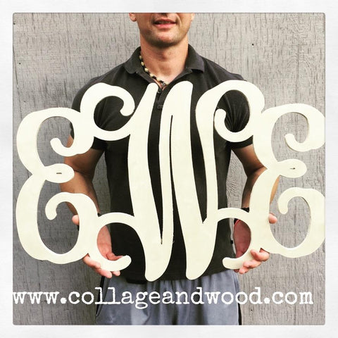 3 Letter Vine Connected Wooden Monogram by Collage and Wood