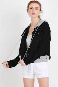 Terry Patch Jacket with Detachable Hoodie (Color Black - Front View)
