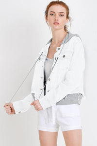 Terry Patch Jacket with Detachable Hoodie (Color White - Front View)