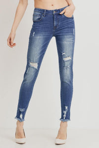 Mid-Rise Distressed Skinny (Color Medium - Front View)
