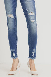 Mid-Rise Distressed Skinny (Color Medium - Detail View)