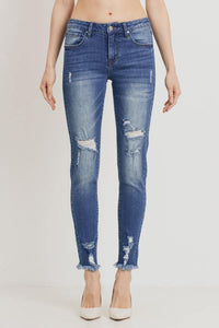Mid-Rise Distressed Skinny (Color Medium - Front View 2)