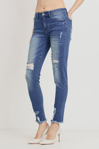 Mid-Rise Distressed Skinny (Color Medium - Side View)