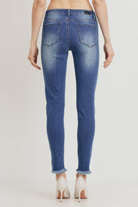 Mid-Rise Distressed Skinny (Color Medium - Back View)