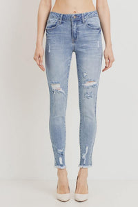 Mid-Rise Distressed Skinny Jeans - GREY MARKET