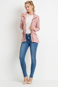 Light Weight Tencel Anorak Jacket (Color Blush - Full View)