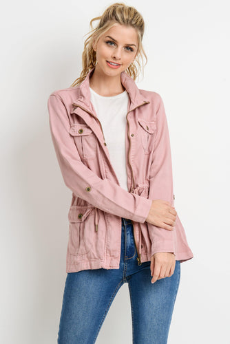 Light Weight Tencel Anorak Jacket (Color Blush - Front View)