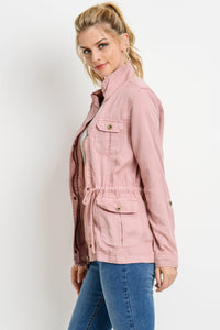 Light Weight Tencel Anorak Jacket (Color Blush - Side View)