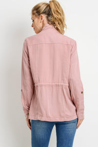 Light Weight Tencel Anorak Jacket (Color Blush - Back View)