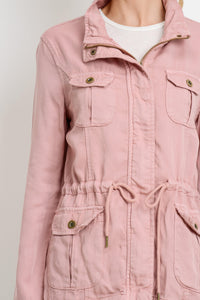 Light Weight Tencel Anorak Jacket (Color Blush - Detail View)
