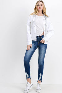 Oversized Denim Jacket with Hoodie (Color White - Full View)