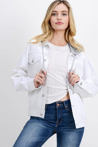 Oversized Denim Jacket with Hoodie (Color White - Front View)