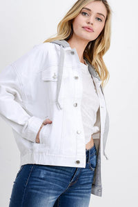 Oversized Denim Jacket with Hoodie (Color White - Side View)