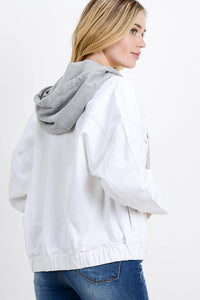 Oversized Denim Jacket with Hoodie (Color White - Angle View)