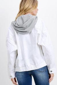 Oversized Denim Jacket with Hoodie (Color White - Back View)