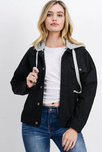 Load image into Gallery viewer, Oversized Denim Jacket with Hoodie (Color Black - Front View)