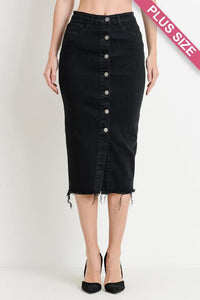 High-Waist Button Down Denim Midi Skirt (CURVY) - GREY MARKET