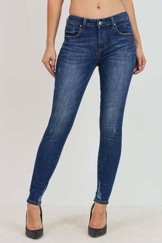 Mid-Rise Ankle Skinny with Back Leg Destruction (Color Dark - Front View)