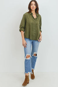 Tencel Shirt with Cut Tail (Color Olive - Full View)