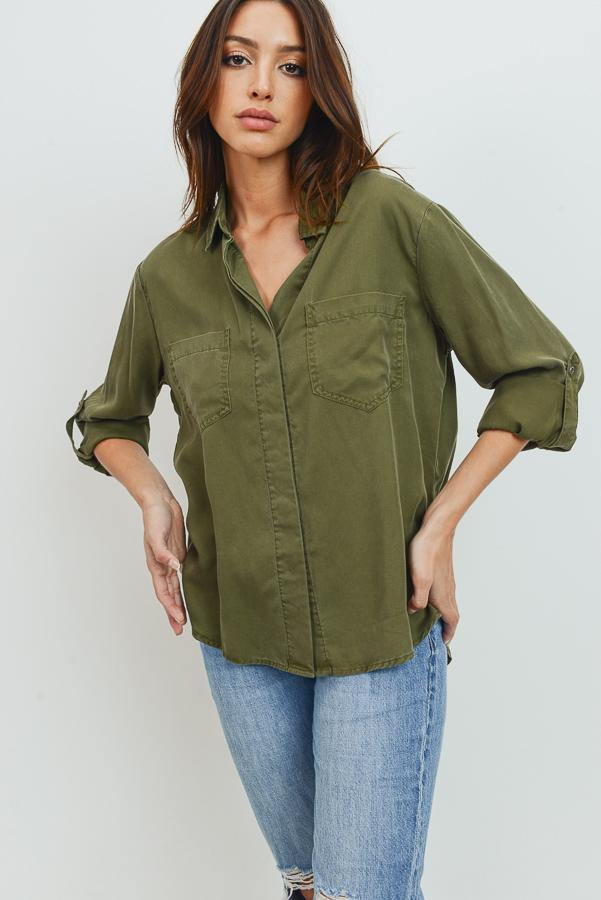 Tencel Shirt with Cut Tail (Color Olive - Front View)