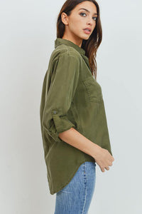 Tencel Shirt with Cut Tail (Color Olive - Side View)