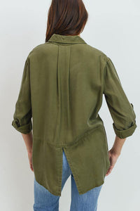 Tencel Shirt with Cut Tail (Color Olive - Back View)