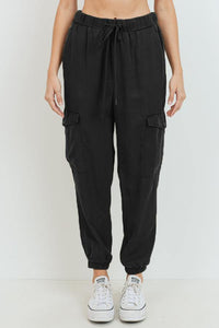 Cargo Tencel Jogger (Black - Front View)