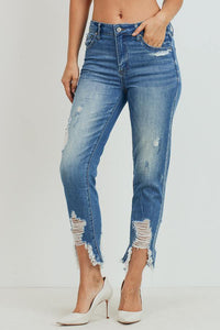 High-Rise Girlfriend Jeans (Color Medium - Angle View)