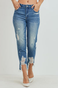 High-Rise Girlfriend Jeans (Color Medium - Front View)