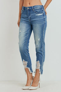 High-Rise Girlfriend Jeans (Color Medium - Side View)