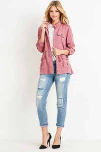 Light Weight Tencel Anorak Jacket (Color Marsala - Full View)