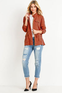 Light Weight Tencel Anorak Jacket (Color Brick - Full View)