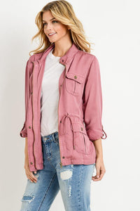 Light Weight Tencel Anorak Jacket (Color Marsala - Front View)