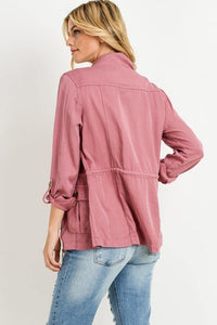 Light Weight Tencel Anorak Jacket (Color Marsala - Side View)