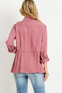 Light Weight Tencel Anorak Jacket (Color Marsala - Back View)