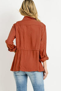 Light Weight Tencel Anorak Jacket (Color Brick - Back View)