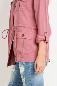 Light Weight Tencel Anorak Jacket (Color Marsala - Detail View)